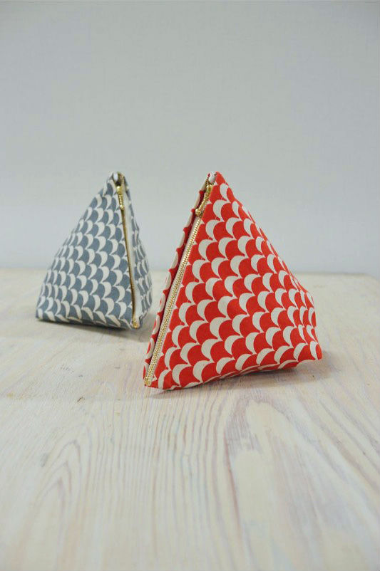 stamped triangle pouches