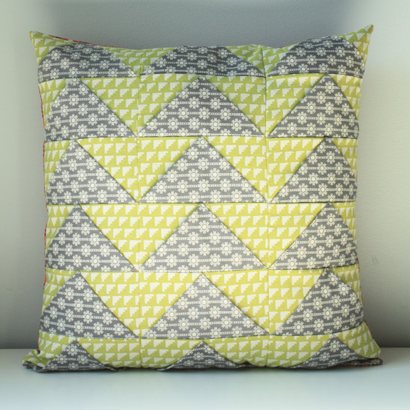 Triangles Pillow from 1, 2, 3 Quilt