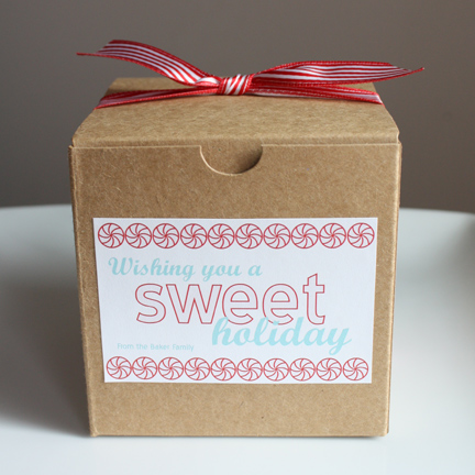 kraft box with printable label and bow for sweet treats